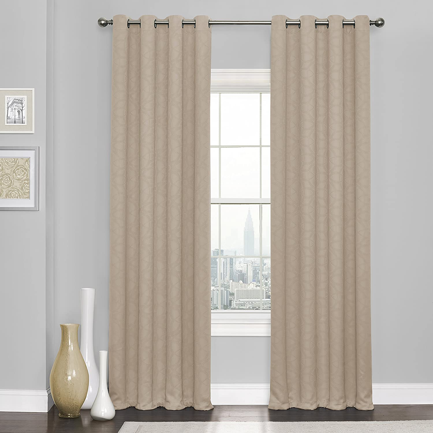 Amazon Com Eclipse Blackout Curtains For Bedroom Kingston 52 X 84 Insulated Darkening Single Panel Grommet Top Window Treatment Living Room Natural Home Kitchen