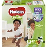 HUGGIES Little Movers Slip On Diaper Pants For Babies Over 35 lbs, Easy Pull On Style With Removal Tab, Size 6 (42 Count)