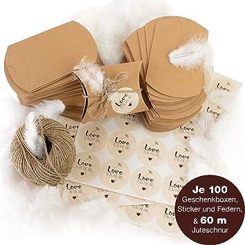 WeddingTree 100 Cajas de Papel Kraft, Plumas, Stickers, 60 Metros de Cuerda de Yute - Ideal para Bodas, bautizos, Fiestas, Regalo de Invitados - DIY