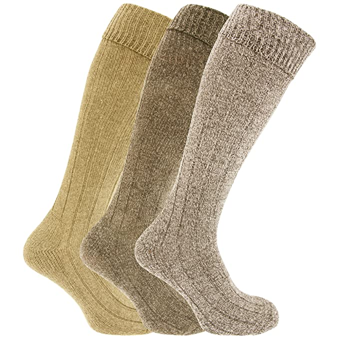 Calcetines hasta la rodilla para botas con mezcla de lana hombre caballero (Pack de 3