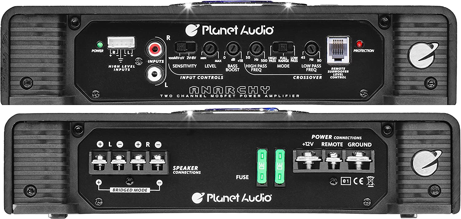Planet Audio AC2600.2 2 Channel Car Amplifier 2600 Watts 2-4 Ohm Stable Mosfet Power Supply Full Range Class A//B Bridgeable