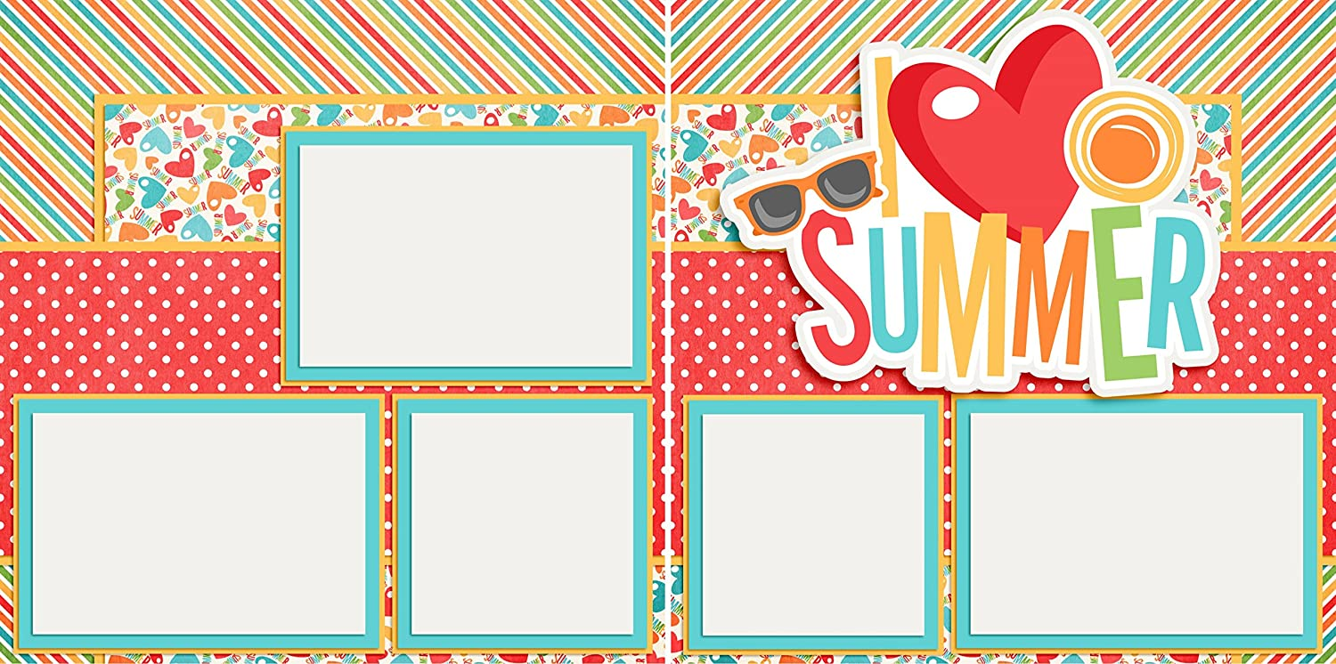 I Heart Summer Premade Scrapbook Pages EZ Layout 3208