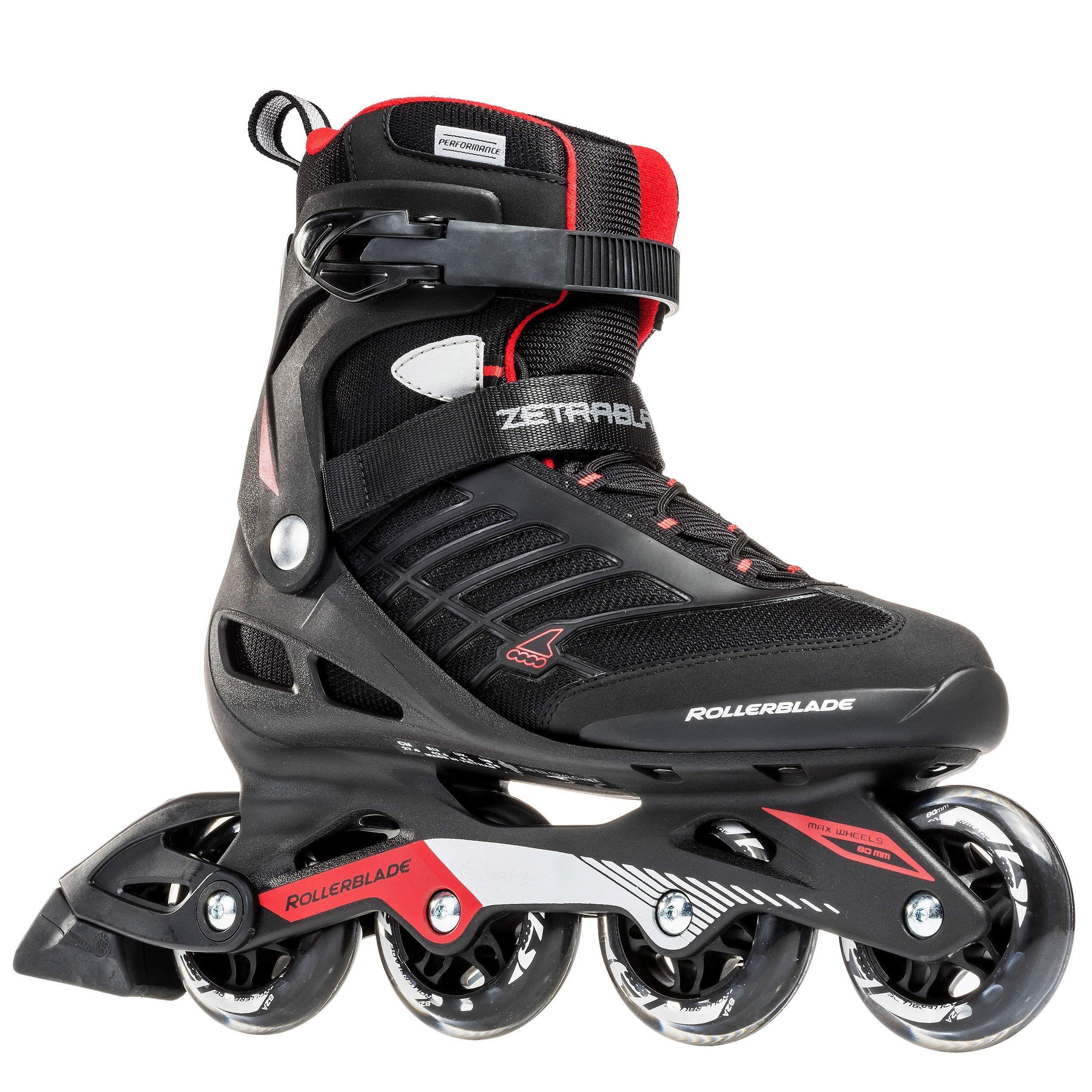 Rollerblade Zetrablade Skate - 4x80mm/84A Wheels - SG 5 Performance Bearings - Black/Red - US Men's 7 (25.0) (Renewed)