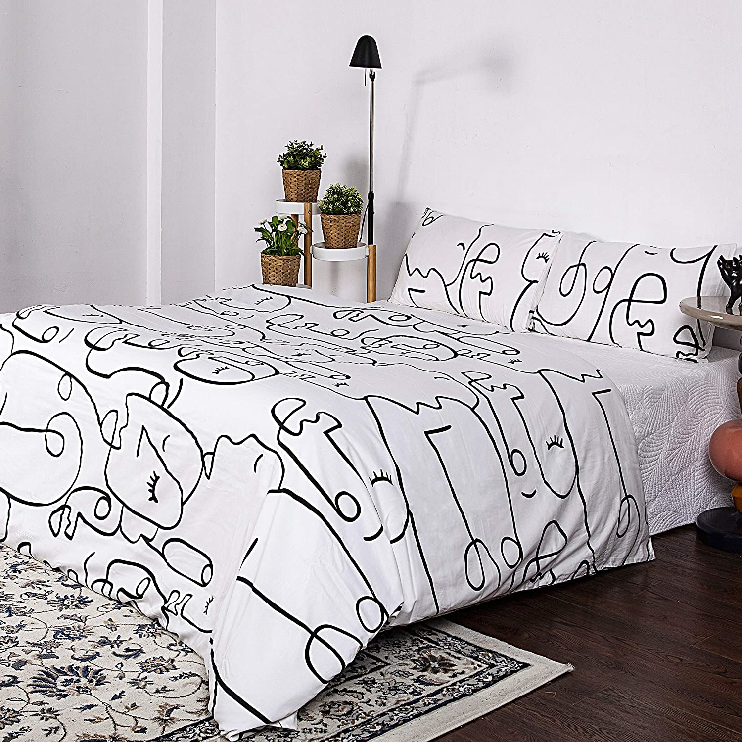 King Sleepymoon 100/% Natural Cotton Duvet Cover Set 1 Duvet Cover + 2 Pillow Shams Printed Pattern with Zipper Closure Soft Breathable Brown and White 3pcs Comforter Cover Set Leopard Print