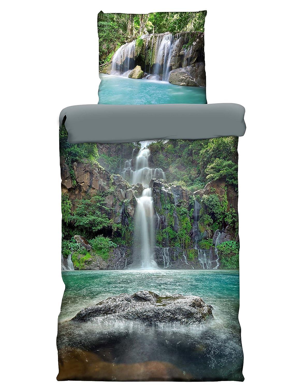 4 tlg Wende Bettwäsche 135 x 200 cm Wasserfall Lagune Microfaser NEU