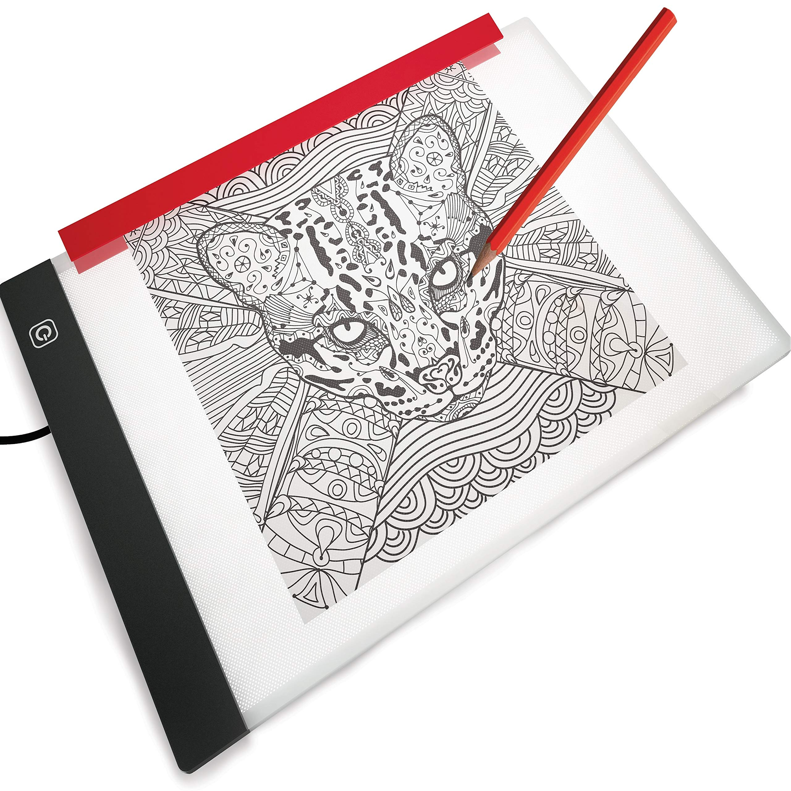 LED Light Box for Drawing and Tracing Portable Ultra-Thin Tracing Light Pad by Illuminati USB Powered A4 Bright Trace Table for Artists - Comes with Dimmable Brightness - Tracing Paper - Holder Clip by Illuminati