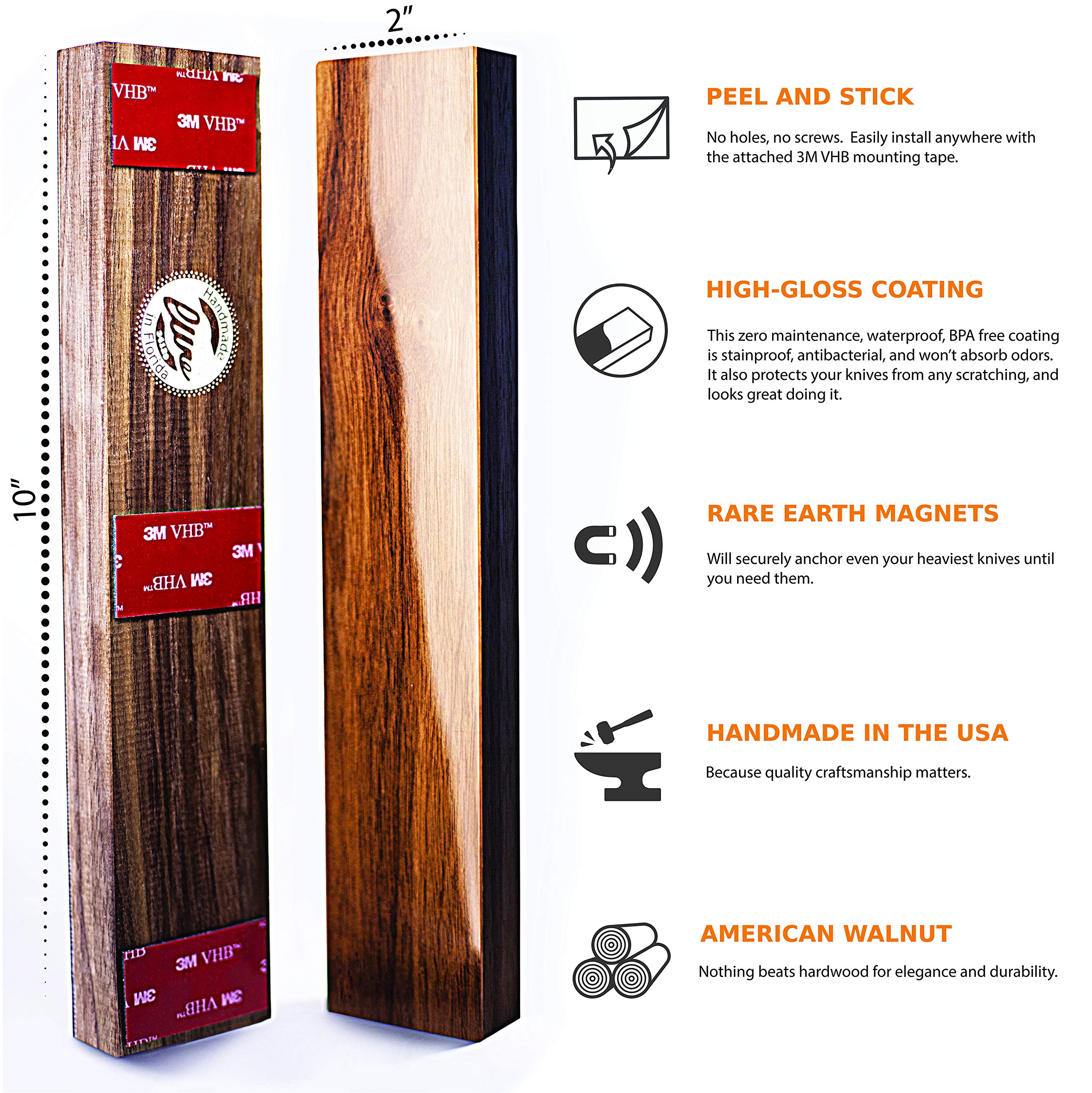 Magnetic Knife Strip Self Adhesive - 10 inch Magnet holder - Utensil Rack for Kitchen or Bar - Wall or Fridge Mount - Walnut Wood - Made in USA by Lure (Image #2)
