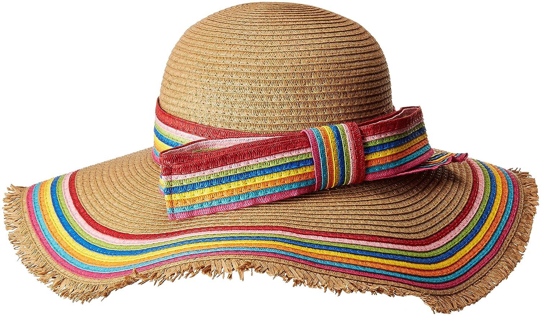 69124d4d78 Betsey Johnson Women s Rainbow Raw Edge Floppy Hat