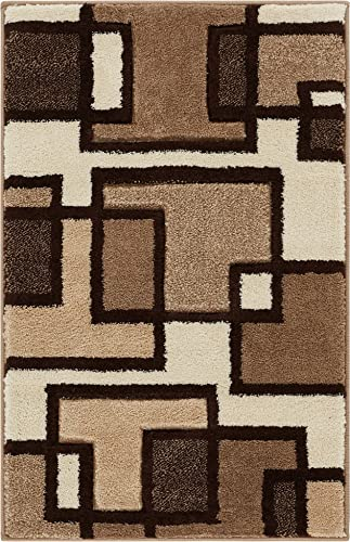 Well Woven Cream Imagination Squares Modern Geometric 2 x 3 Mat Accent Area Rug