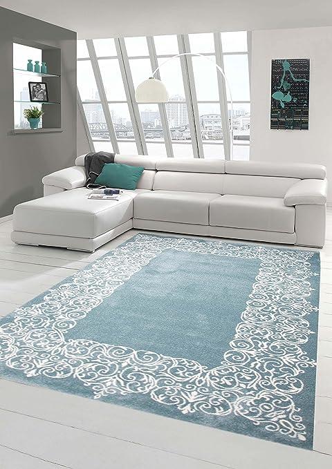 Traum Tappeto Designer Tappeto moderno tappeto da salotto moquette mucchio  basso con bordo panna pastello turchese Größe 160x230 cm