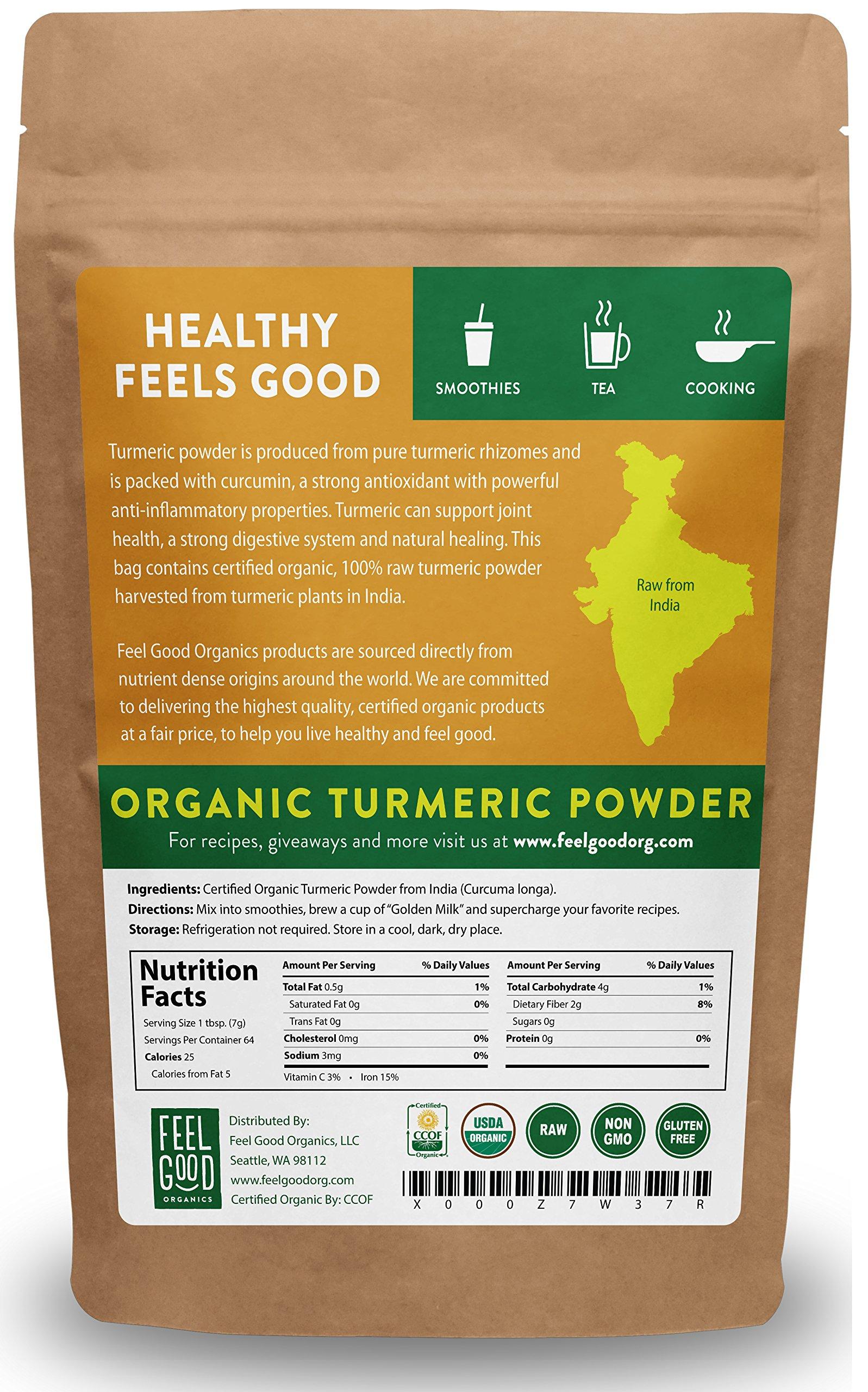 Organic Turmeric Root Powder - 16oz Resealable Bag (1lb) - 100% Raw w/Curcumin From India - by Feel Good Organics by Feel Good Organics (Image #1)