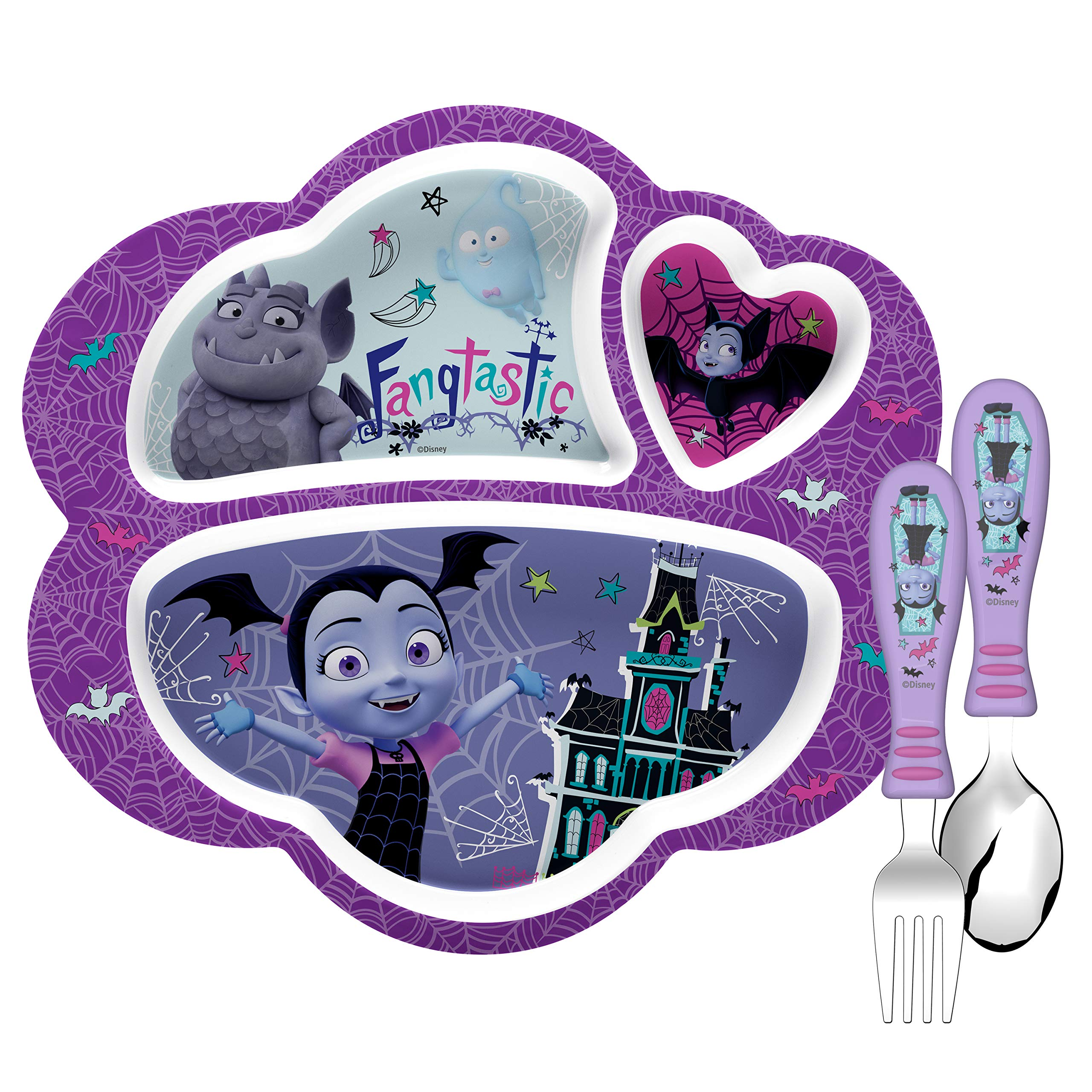 Zak Designs Vampirina Kids Dinnerware Set Includes Melamine 3-Section Divided Plate and Utensil Tableware, Made of Durable Material and Perfect for Kids (Vampirina, 3 Piece Set, BPA-Free) by Zak Designs