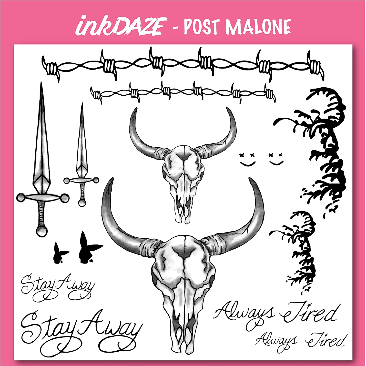 8746865c Amazon.com : Ink Daze Post Malone Face Tattoo Set | Temporary Tattoos |  Halloween Costume | Skin Safe : Beauty