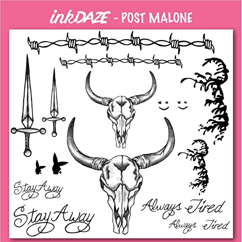 Amazon com: Ink Daze Post Malone Face Tattoo Set | Temporary