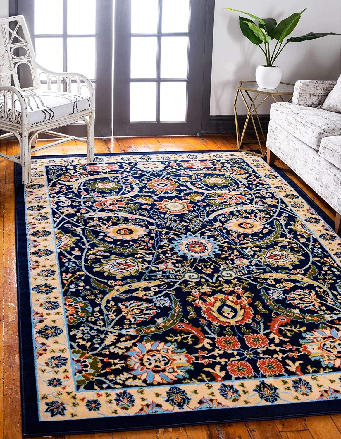 Unique Loom Espahan Collection Classic Traditional Navy Blue Area Rug (6' 0 x 9' 0)