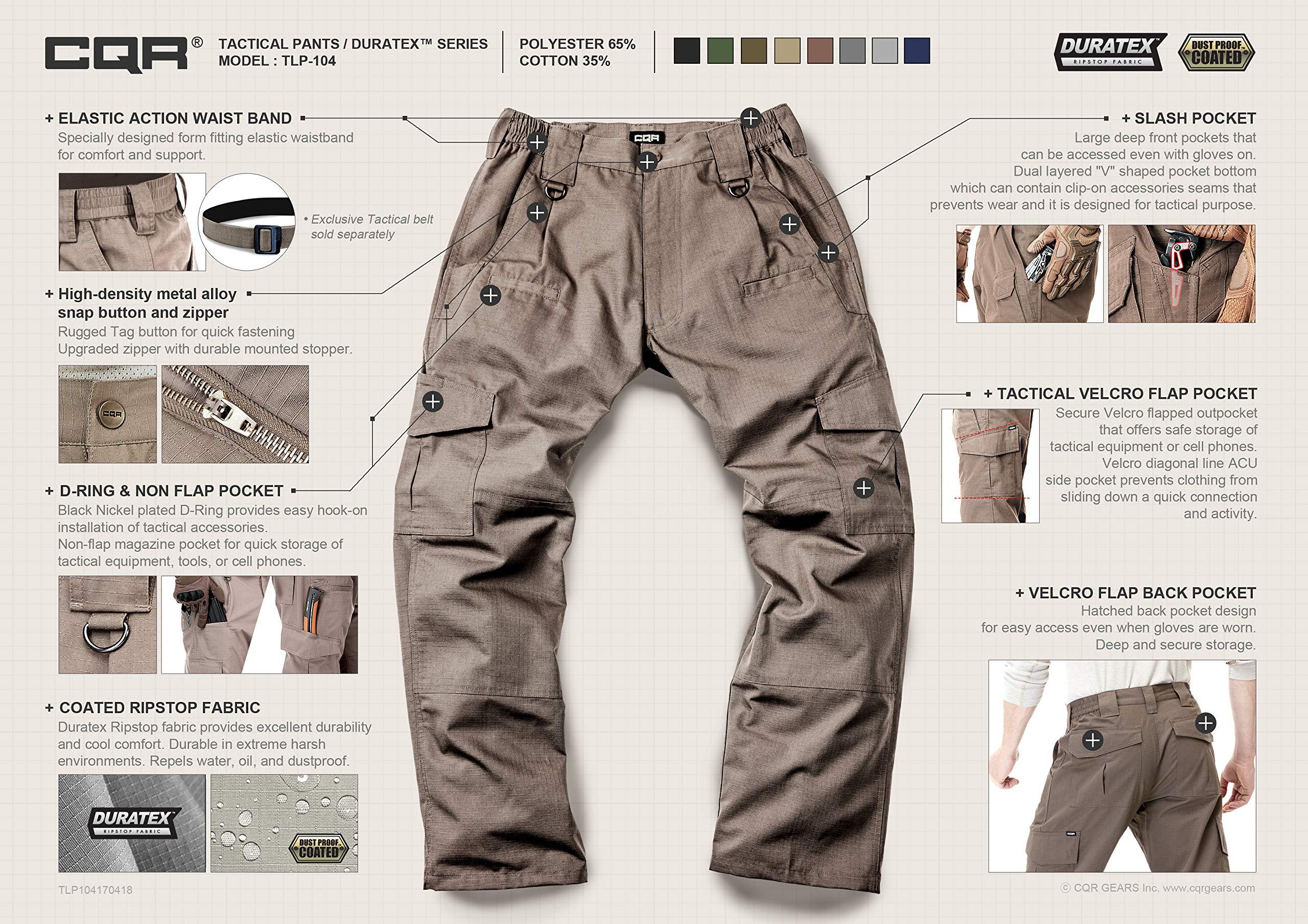 CQR CLSL CQ-TLP104-BLK_32W/32L Men's Tactical Pants Lightweight EDC Assault Cargo TLP104 by CQR (Image #3)
