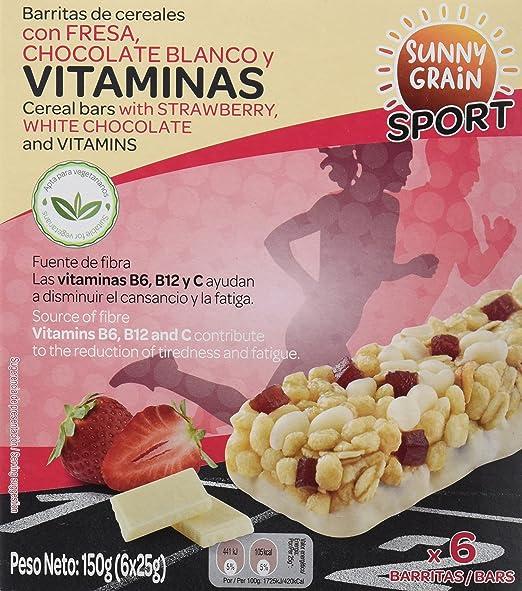 Sunny Grain Sport Barrita Energética con Fresa y Chocolate Blanco - Paquete de 12 x 150