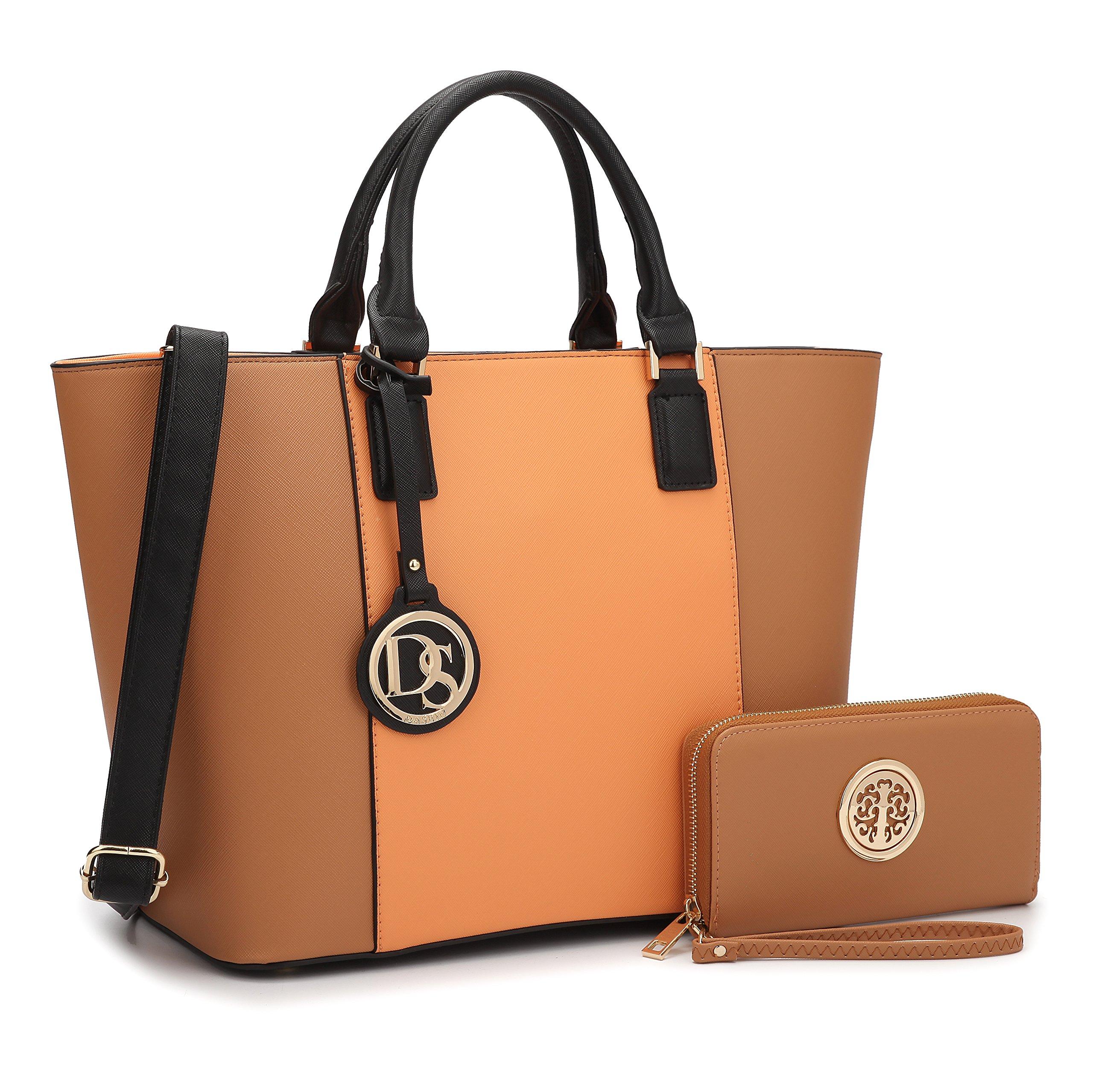 Dasein Women's Top Handle Structured Two Tone Tote Bag Satchel Handbag Shoulder Bag With Shoulder Strap (6417 Orange/Brown)