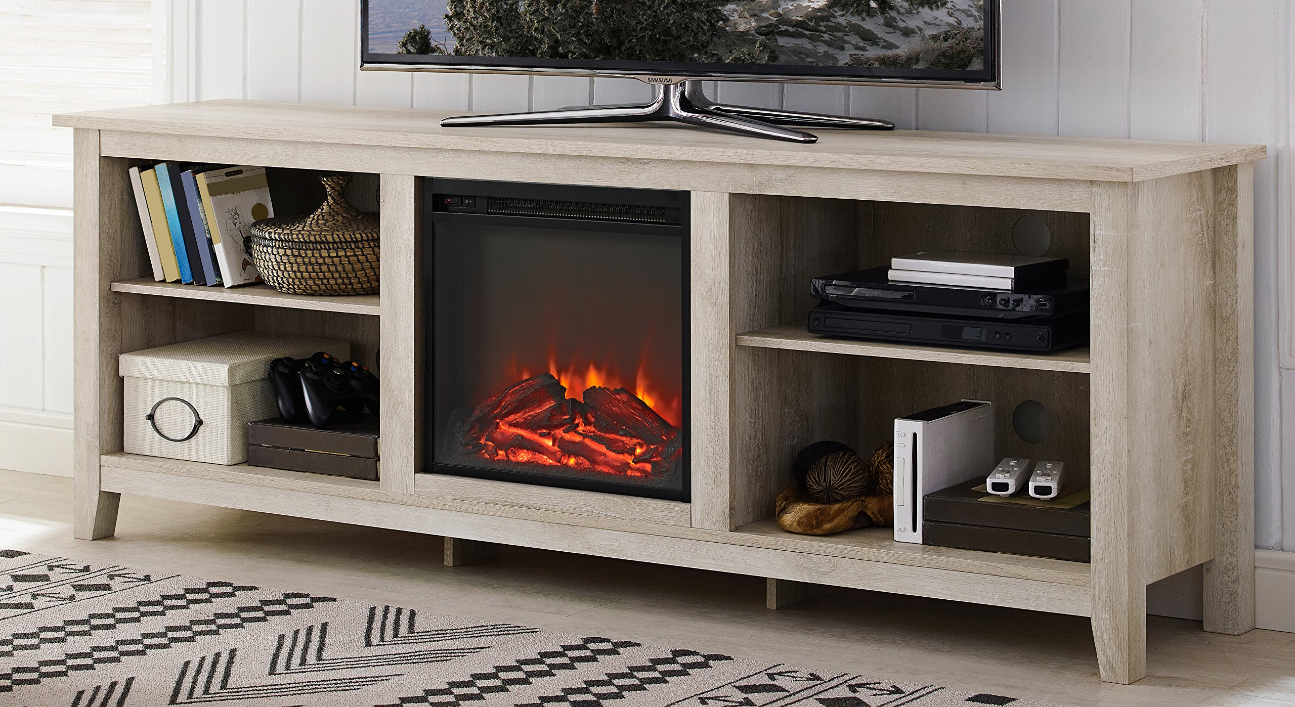 WE Furniture 70'' Wood Media TV Stand Console with Fireplace - White Oak