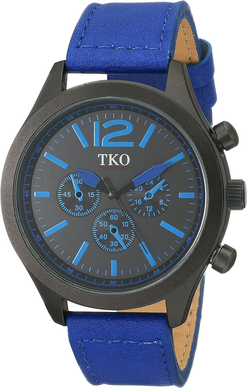 TKO Men s Matte Black Case Rugged Aviator Watch Blue Leather Military Watch TK650BL