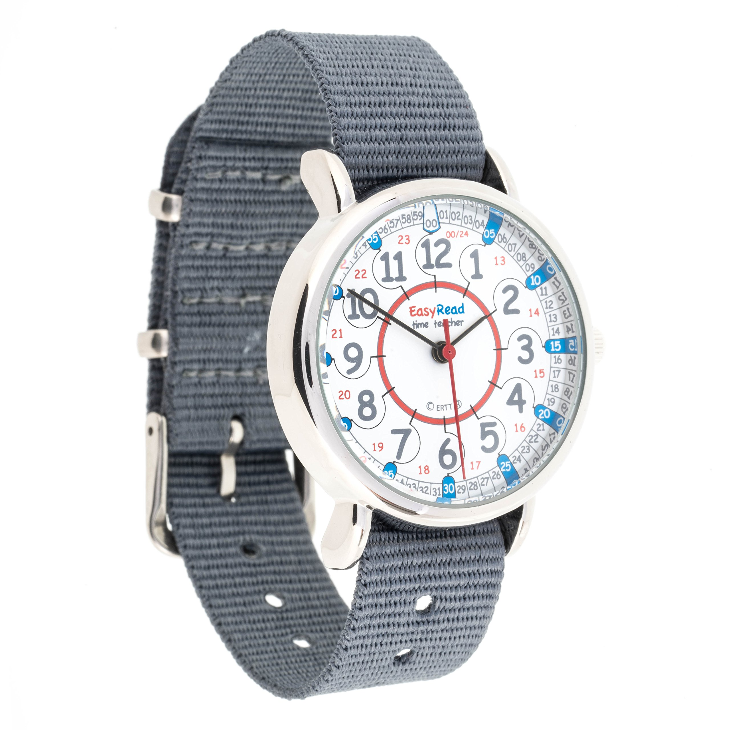 EasyRead Time Teacher Children's Watch, 12 & 24 Hour Time, Red, Blue, Grey Face/Grey Strap