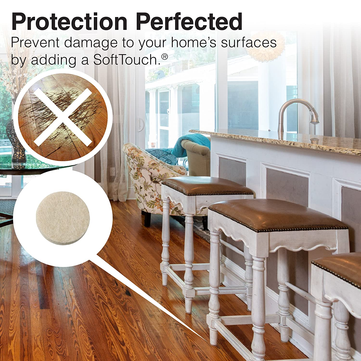 Self-Stick Furniture Round Felt Pads for Hard Surfaces - Protect ...