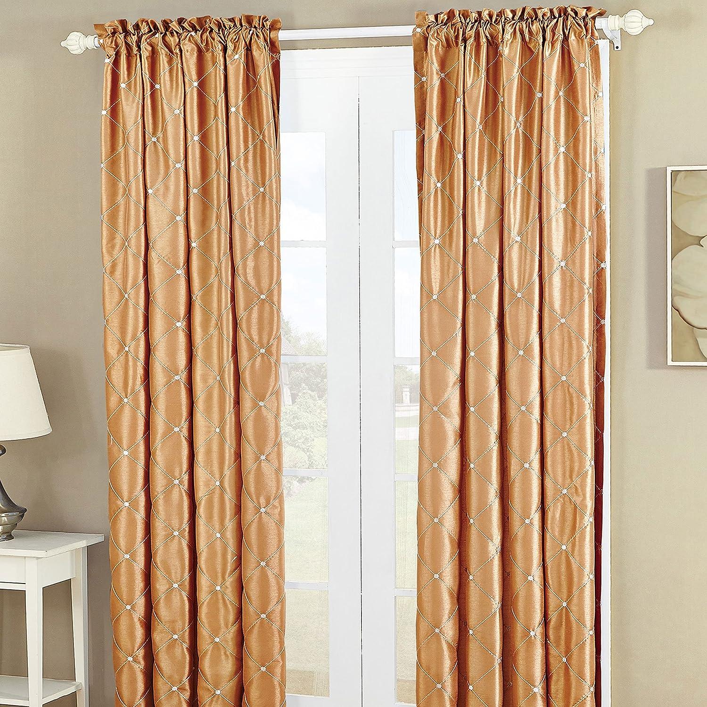 Home Soft Things Serenta Doris Diamond Embroidery Light Reducing Faux Silk Curtain, 2 Piece Window Panels, 60