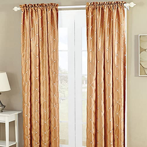 Home Soft Things Serenta Doris Diamond Embroidery Light Reducing Faux Silk Curtain, 2 Piece Window Panels, 60 x 96 , Gold