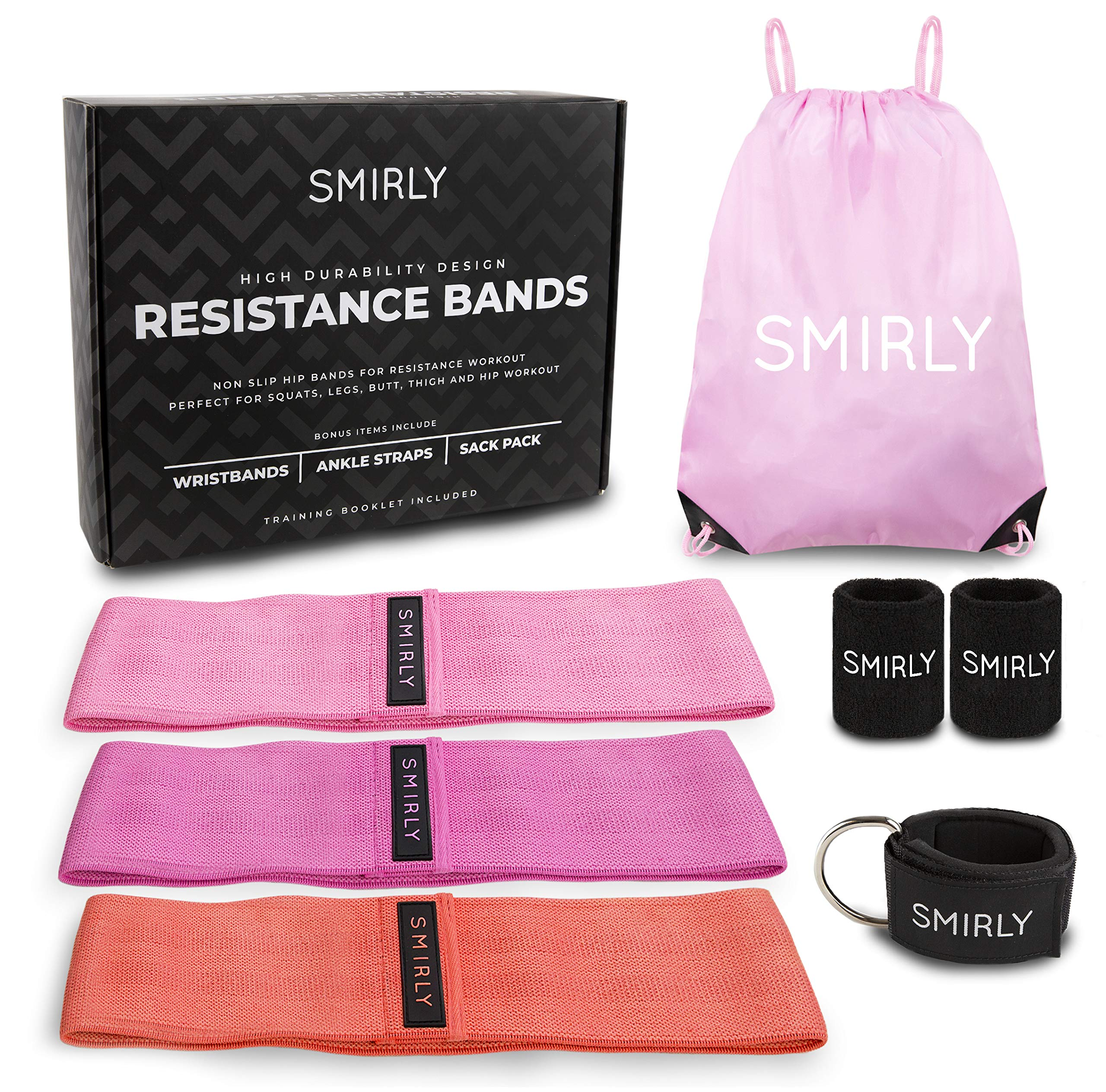 Hip Exercise Resistance Bands Set: 3 Thick Fabric Thigh Bands for Leg and Butt Work Out - Womens Loop Band Pack with Sweatbands, Ankle Strap, Gym Bag - Booty, Stretch, and Strength Training Equipment