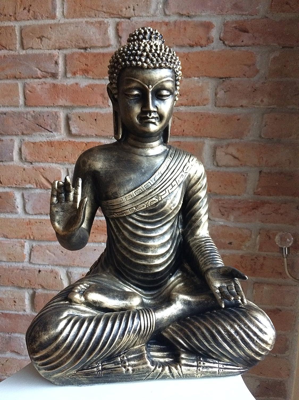 Buda Thai Buda Bronce Imitación Medi Animales Meditación Ruhe Fuerza Jardín Decoración Exterior heladas: Amazon.es: Jardín