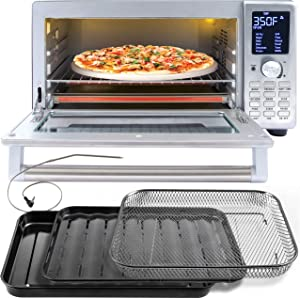NUWAVE BRAVO XL 1800-Watt Convection Oven with Crisping and Flavor Infusion Technology (FIT) with Integrated Digital Temperature Probe for Perfect Results; 12 Programmed Presets; 3 Fan Speeds; 5-Quartz Heating Elements; Precision Temperature Control from 100F to 450F in 5F increments; Cook up to a 10 LB. Chicken, 13 inch Pizza, or 9 Slices of Toast; Air Fry, Broil, Bake, Roast, Grill, Toast; Dehydrate, Warm, and Reheat (NuWave Bravo Convection Oven) (Renewed)