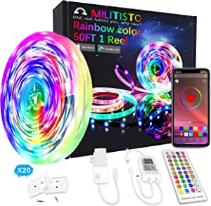 Militisto Rainbow LED Light Strips - App Control Dreamcolor RGBIC LED Strip Lights 50ft (1-Pack) - Music Sync LED Lights for Bedroom,Aesthetic Room Decor,Smart Home, Home Decorations, Dorm Decor