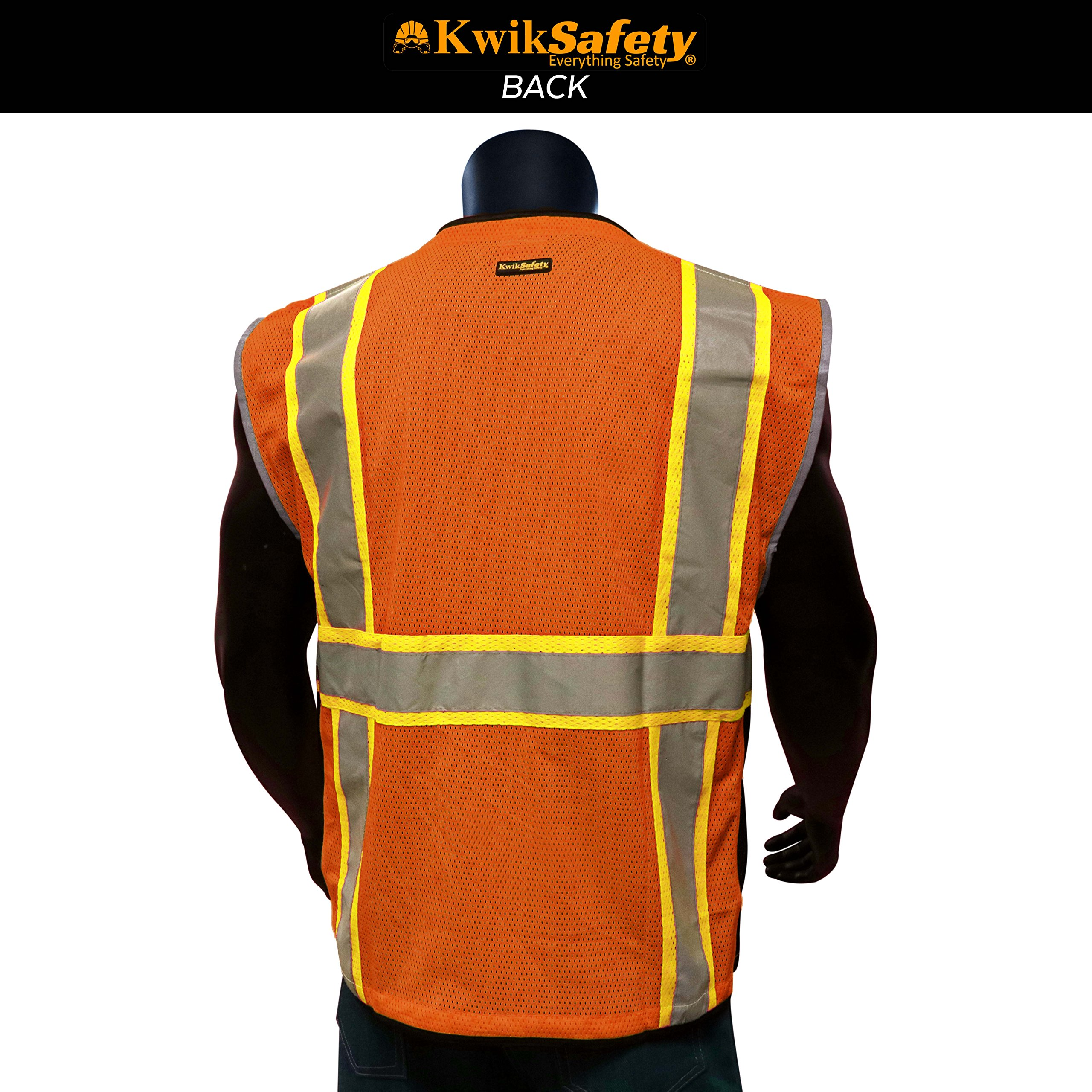 KwikSafety CLASSIC Safety Vest | Class 2 ANSI OSHA PPE | High Visibility Reflective Stripes, Heavy Duty Mesh with Pockets and Zipper | Hi-Vis Construction Work Hi-Vis Surveyor | Orange S/M by KwikSafety (Image #3)