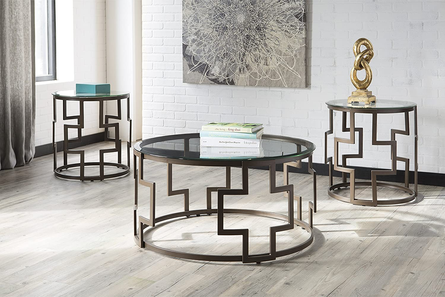 Ashley Furniture Signature Design – Frostine Contemporary 3-Piece Occasional Table Set – Includes Cocktail Table 2 End Tables – Dark Bronze Finish