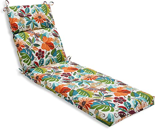 Pillow Perfect Outdoor Indoor Lensing Jungle Chaise Lounge Cushion, 72.5 x 21 , Off-White