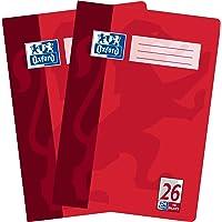 Oxford Schoolschrift A4 geruit met rand, liniatuur 26, 16 vellen, hoogwaardig 90 g/m² papier, rood, verpakking van 2