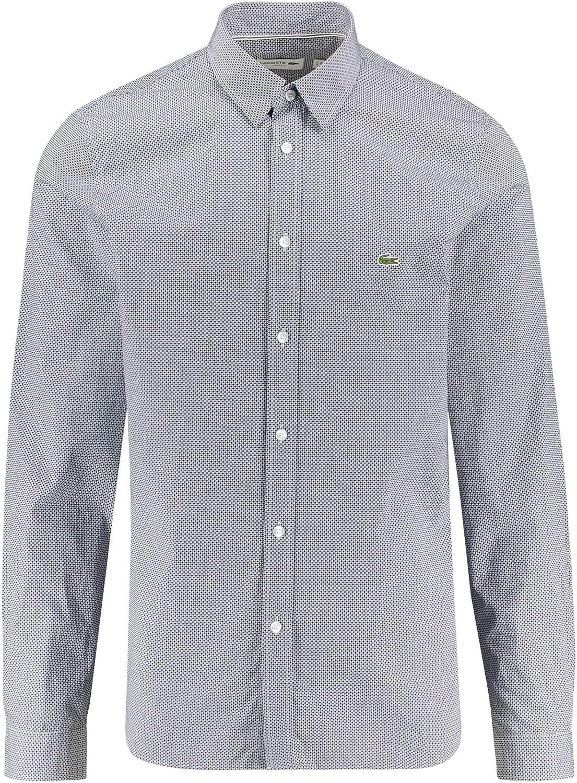 Lacoste CH6287 Hombre Camisa Manga Larga, de Caballero Camisa, con Botones, a Cuadros, Ajustado, Navy Blue/White(525), 45: Amazon.es: Ropa y accesorios
