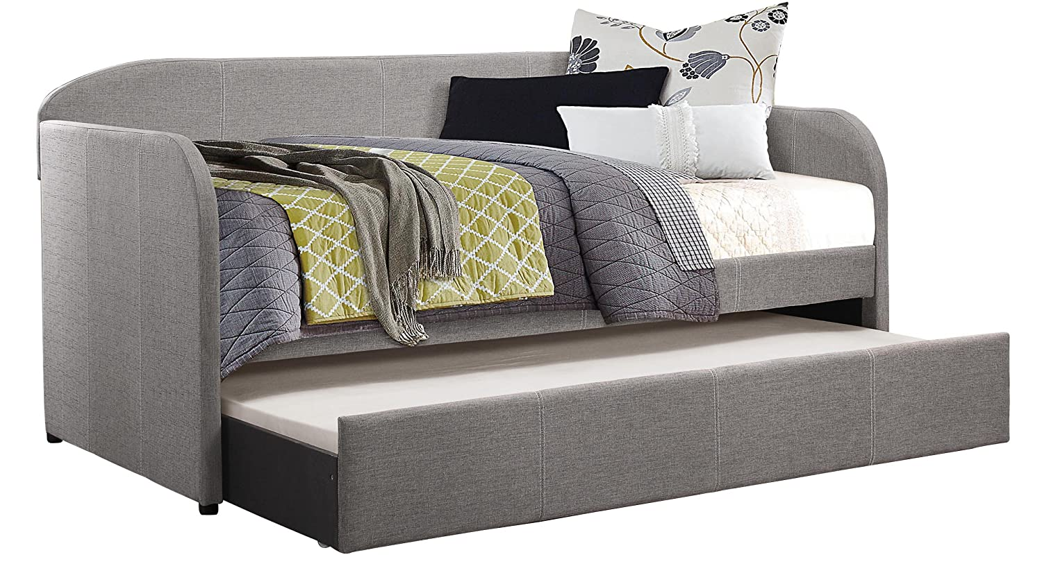 Amazon.com: Homelegance Modern Design Daybed With Trundle Fully Upholstered  Polyester, Twin, Grey: Kitchen U0026 Dining