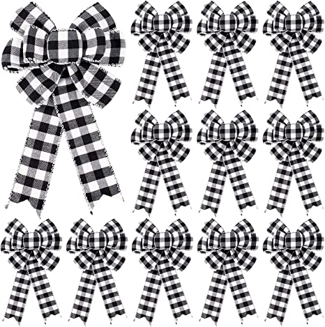 6 Pieces Buffalo Plaid Bow Halloween Christmas Wreath Bow 10 Inch Thanksgiving Fall Bows for Christmas Tree Holiday Decorations Red and Black Plaid, Black and White Plaid