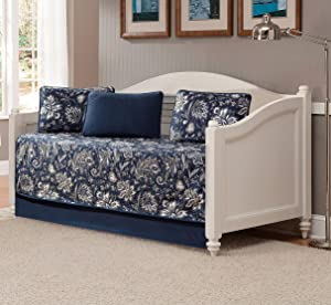 Kids Zone Home Linen 5 Piece Daybed Quilted Bedspread Set Floral Print Pattern Blue Taupe White Grey