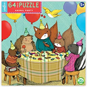 eeBoo Animal Party Jigsaw Puzzle for Kids Ages 5 Years and Up, 64 Pieces