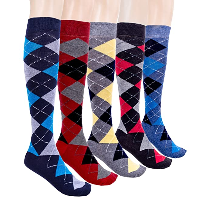 1920s Style Stockings & Socks Socks n Socks-Womens 5 & 2 Pair Luxury Cotton Colorful Cool Fun Knee high Socks $17.95 AT vintagedancer.com