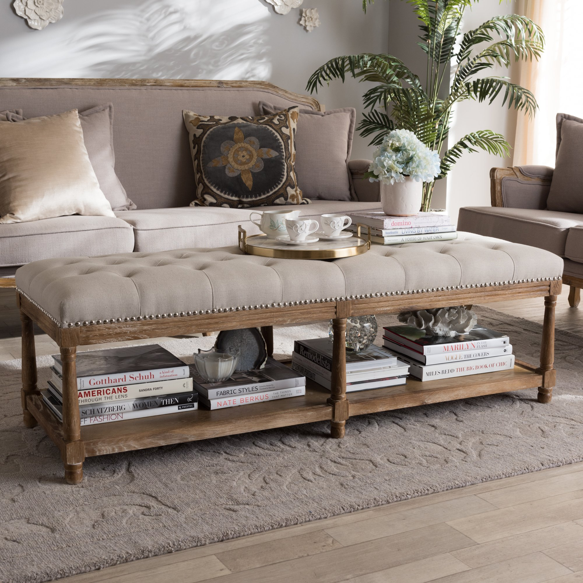 Baxton Studio Upholstered Ottoman Bench in Beige and Weathered Oak Finish by Baxton Studio