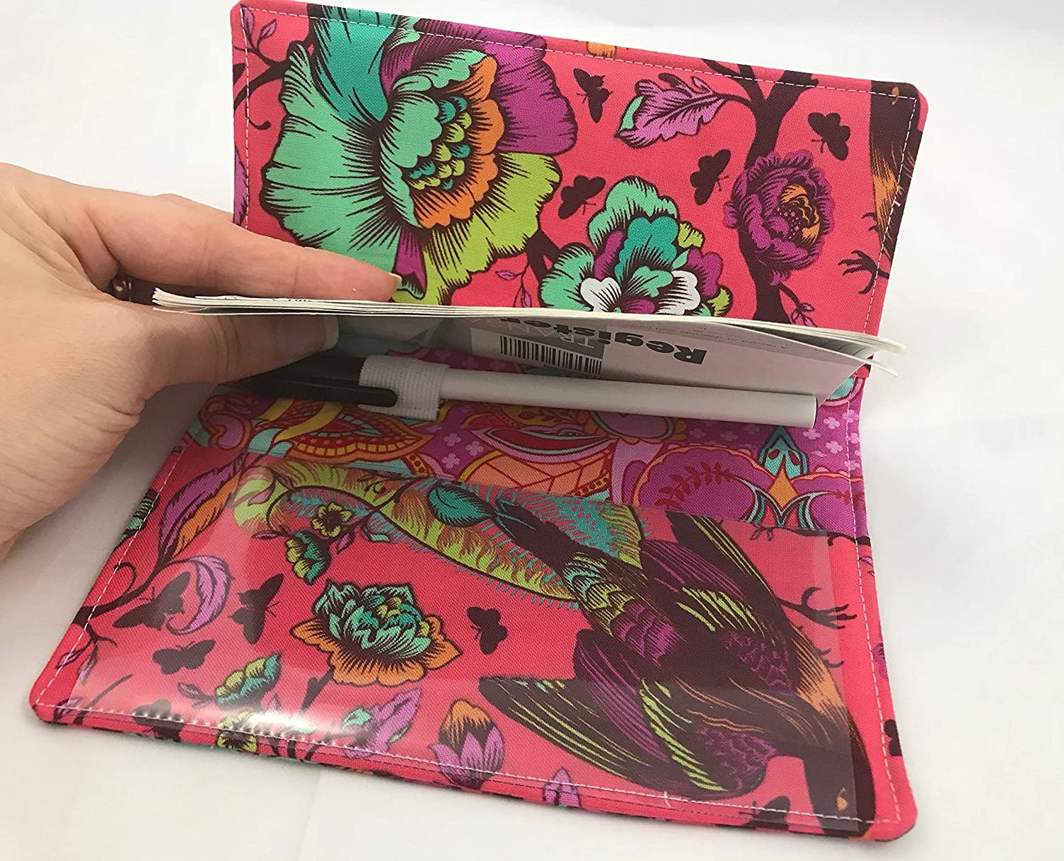 Tail Feathers Poppy Red Duplicate Checkbook Cover Register with Pen Holder
