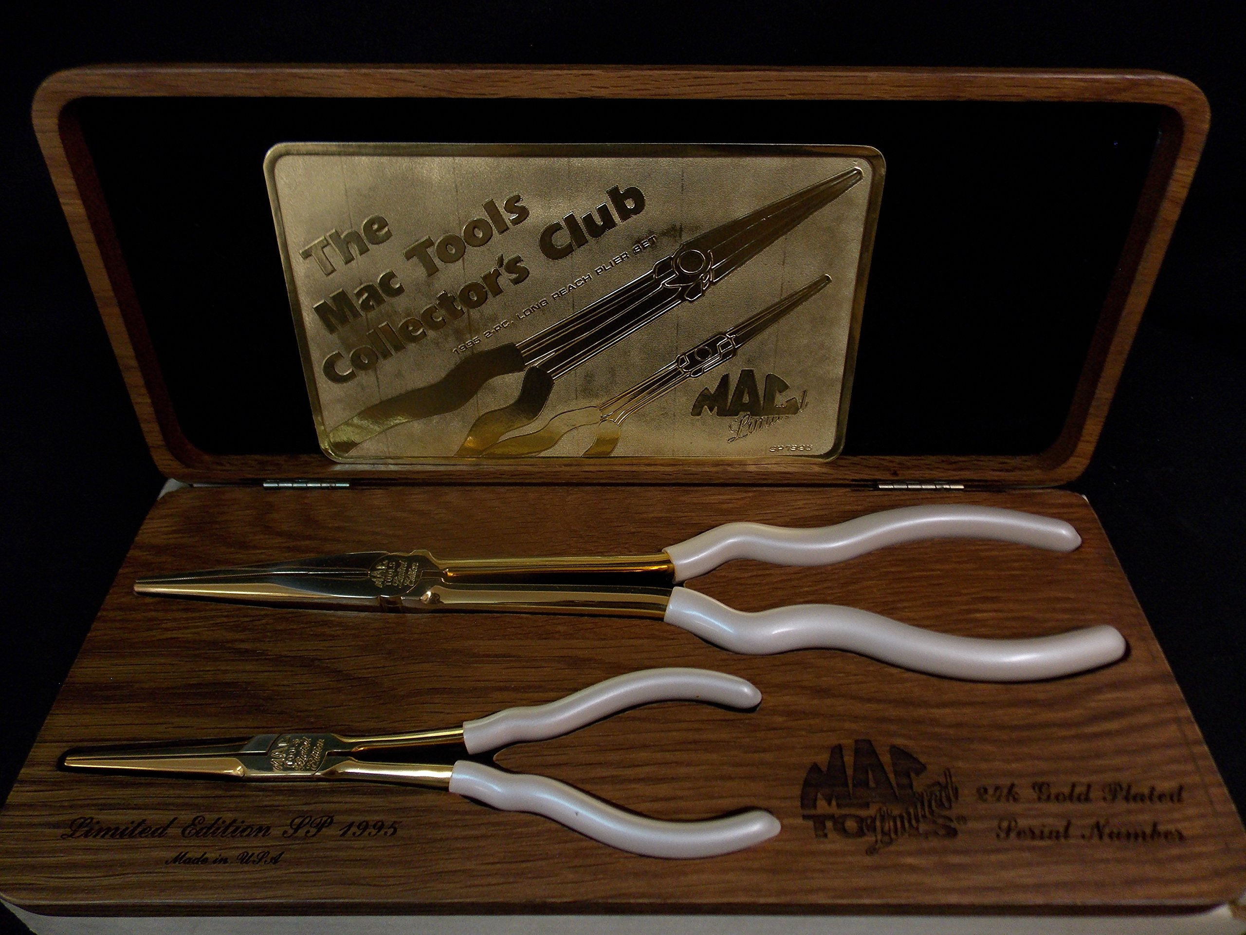 Mac Tools Limited 24 K Gold Plated Needle Nose Pliers (2), 1995 Made In USA, Vintage/Rare, Part #SP1995
