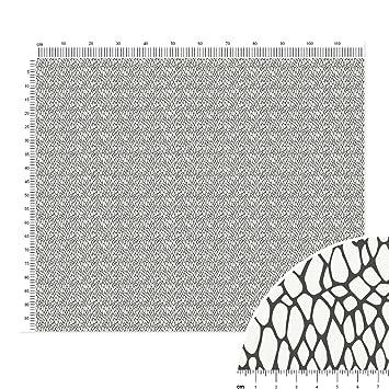 Báscula de piel de serpiente algodón Popelina tela en fuscous gris sobre blanco - Metro lineal (120 x 100 cm) - ilustración estilo: Amazon.es: Hogar
