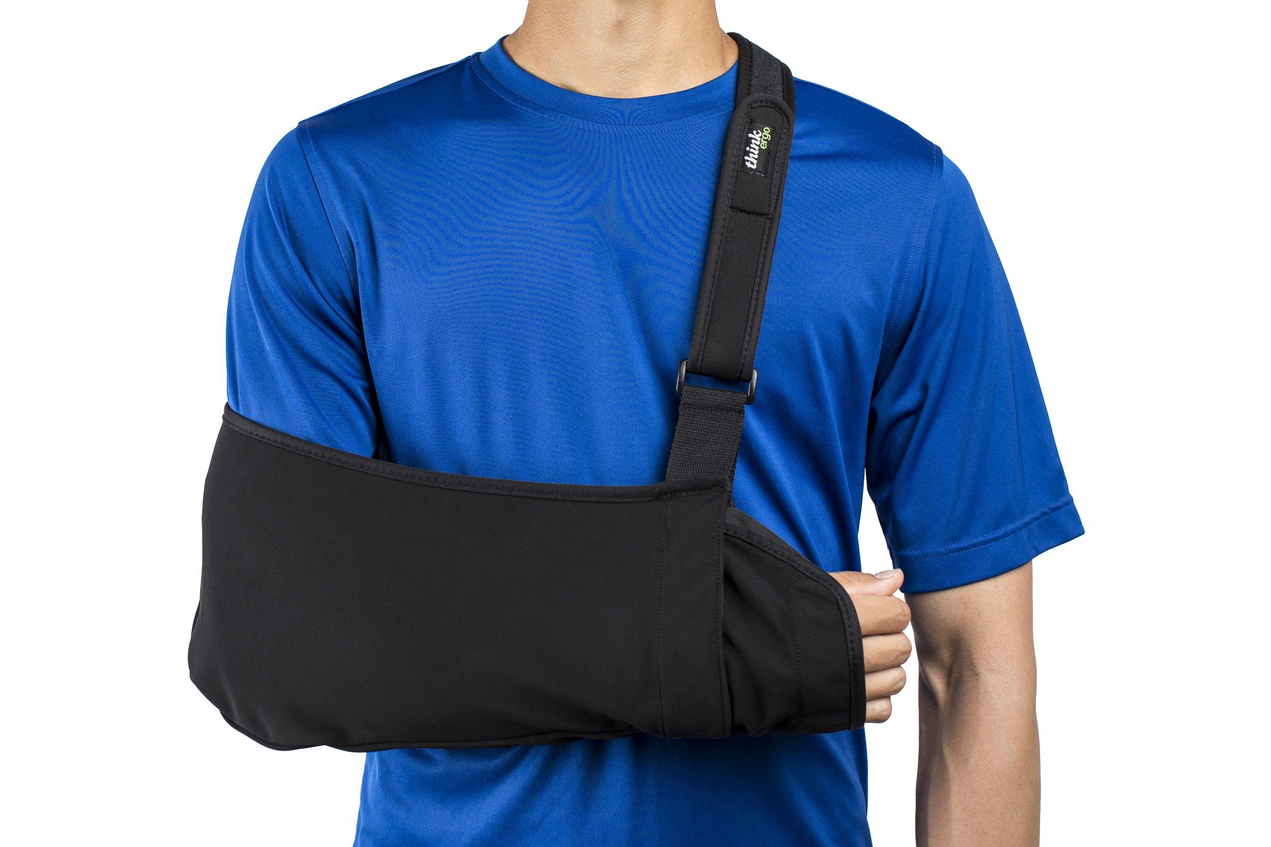 Think Ergo Arm Sling Sport - Lightweight, Breathable, Ergonomically Designed Medical Sling for Broken & Fractured Bones - Adjustable Arm, Shoulder & Rotator Cuff Support (XL Adult)