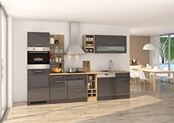 Held Möbel 582.1.6211 Mailand Küche, Holzwerkstoff, hochglanz grau ...