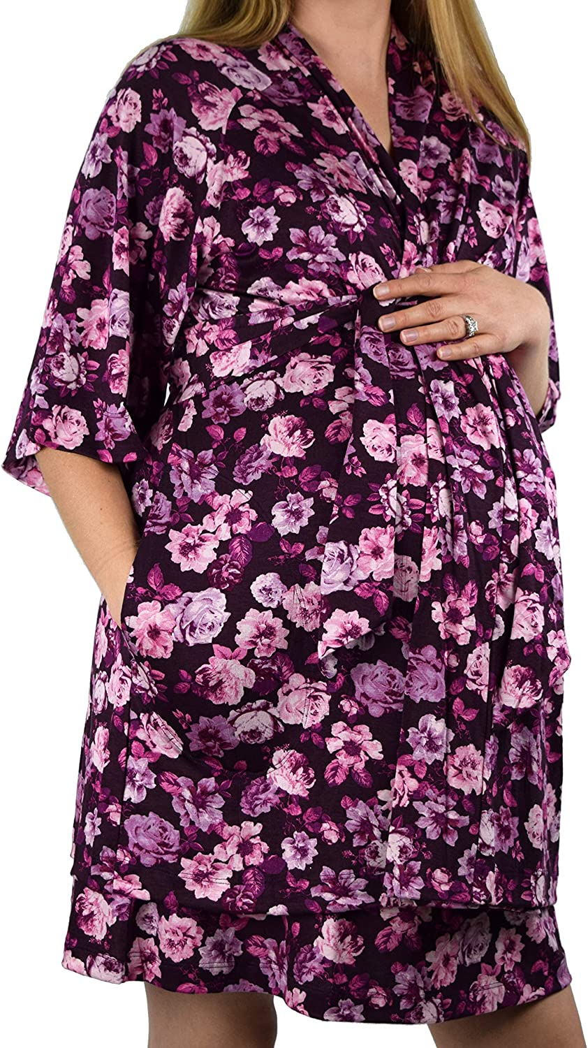 Embrace Your Bump 2 in 1 Super Soft Maternity /& Nursing Nightgown /& Robe Set Purple Floral, Large