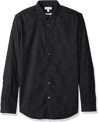 Calvin Klein Hombres 40G6233 Manga Larga Camisa de Botones - Negro - Medium: Amazon.es: Ropa y accesorios